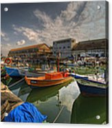 resting boats at the Jaffa port Acrylic Print by Ron Shoshani