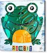 Ribbit The Frog License Plate Art Acrylic Print by Design Turnpike