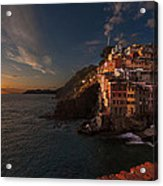 Riomaggiore Peaceful Sunset Acrylic Print by Mike Reid