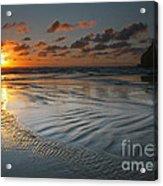 Ripples On The Beach Acrylic Print by Mike  Dawson
