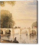 River Scene With Bridge Of Six Arches Acrylic Print by Robert Hindmarsh Grundy