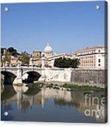 River Tiber With The Vatican. Rome Acrylic Print by Bernard Jaubert