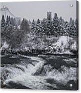 Riverfront Park Winter Storm - Spokane Washington Acrylic Print by Daniel Hagerman