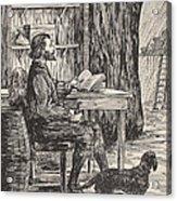 Robinson Crusoe In His Cave Acrylic Print by English School