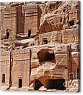 Rock Cut Tombs On The Street Of Facades Petra Jordan Acrylic Print by Robert Preston