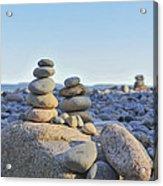 Rock Piles Zen Stones Little Hunters Beach Maine Acrylic Print by Terry DeLuco