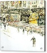 Rockefeller Center Skaters Acrylic Print by Anthony Butera