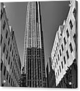 Ge Building In Black And White Acrylic Print by Dan Sproul
