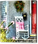 Rocking Chair With Pink Pillow Acrylic Print by Susan Savad