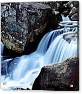 Rocks And Waterfall Acrylic Print by Adam LeCroy