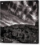 Rocks Clouds Water Acrylic Print by Bob Orsillo