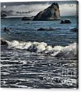 Rocks In The Surf Acrylic Print by Adam Jewell