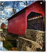 Roddy Road Covered Bridge Acrylic Print by Joan Carroll