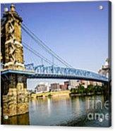 Roebling Bridge In Cincinnati Ohio Acrylic Print by Paul Velgos