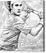 Roger Federer Art Drawing Sketch Portrait Acrylic Print by Kim Wang