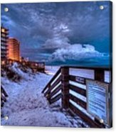 Romar Beach Clouds Acrylic Print by Michael Thomas