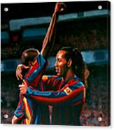 Ronaldinho And Eto'o Acrylic Print by Paul Meijering