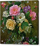 Roses In A Glass Vase Acrylic Print by Albert Williams
