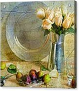 Roses With Figs Acrylic Print by Diana Angstadt