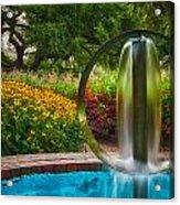 Round Water Sculpture Prescott Park Garden  Acrylic Print by Jeff Sinon