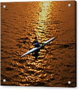 Rowing Into The Sunset Acrylic Print by Bill Cannon