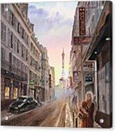 Rue Saint Dominique Sunset Through Eiffel Tower   Acrylic Print by Irina Sztukowski