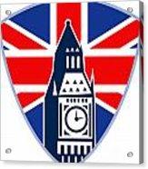 Runner Sprinter Start British Flag Shield Acrylic Print by Aloysius Patrimonio