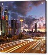 Rush Hour During Sunset In Hong Kong Acrylic Print by Lars Ruecker