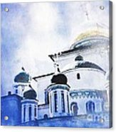 Russian Church In A Blue Cloud Acrylic Print by Sarah Loft