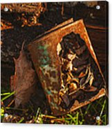 Rusted Can Of Leaves Acrylic Print by Jack Zulli