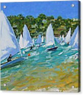 Sailboat Race Acrylic Print by Andrew Macara