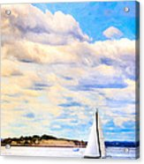 Sailing On A Beautiful Day In Boston Harbor Acrylic Print by Mark E Tisdale