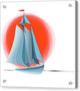 Sailing Red Sun Acrylic Print by Ben and Raisa Gertsberg