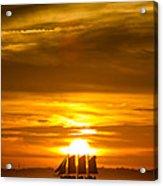 Sailing Yacht Schooner Pride Sunset Acrylic Print by Dustin K Ryan