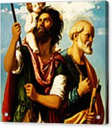 Saint Christopher With Saint Peter Acrylic Print by Digital Reproductions