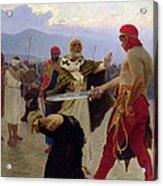 Saint Nicholas Of Myra Saves Three Innocents From Death Acrylic Print by Ilya Efimovich Repin