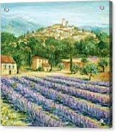 Saint Paul De Vence And Lavender Acrylic Print by Marilyn Dunlap