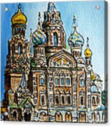 Saint Petersburg Russia The Church Of Our Savior On The Spilled Blood Acrylic Print by Irina Sztukowski