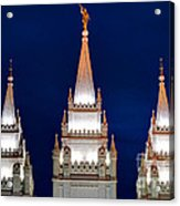 Salt Lake Lds Mormon Temple At Night Acrylic Print by Gary Whitton