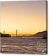 San Francisco Harbor Golden Gate Bridge At Sunset Acrylic Print by Artist and Photographer Laura Wrede