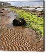 Sand Patterns On Robin Hoods Bay Beach Acrylic Print by Deborah Benbrook