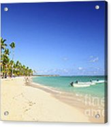 Sandy Beach On Caribbean Resort  Acrylic Print by Elena Elisseeva