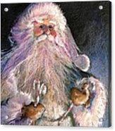 Santa Claus - Sweet Treats At Fireside Acrylic Print by Shelley Schoenherr