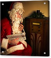 Santa Listening To The Weather Report Acrylic Print by Diane Diederich