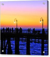 Santa Monica Pier Sunset Silhouettes Acrylic Print by Lynn Bauer
