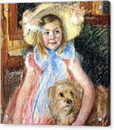 Sara And Her Dog Acrylic Print by Mary Stevenson Cassatt
