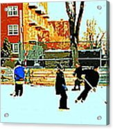 Saturday Afternoon Hockey Practice At The Neighborhood Rink Montreal Winter City Scene Acrylic Print by Carole Spandau