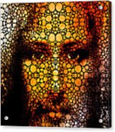 Savior - Stone Rock'd Jesus Art By Sharon Cummings Acrylic Print by Sharon Cummings