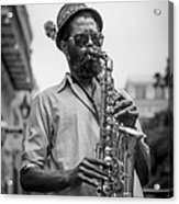 Saxophone Musician New Orleans Acrylic Print by David Morefield