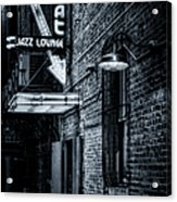 Scat Lounge In Cool Black And White Acrylic Print by Joan Carroll